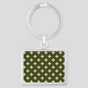 Fleur de Lis PC White Dk Olive Landscape Keychain