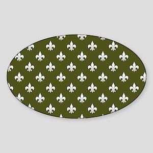 Fleur de Lis PC White Dk Olive Sticker (Oval)