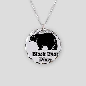 Black Bear Logo Necklace Circle Charm
