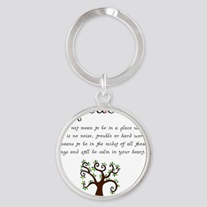 Peace Mantra Round Keychain