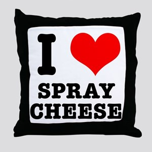 I Heart (Love) Spray Cheese Throw Pillow