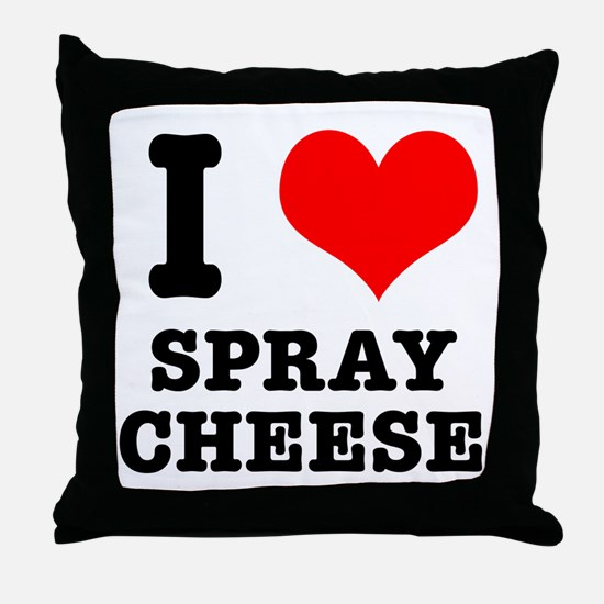 I Heart (Love) Spray Cheese Throw Pillow