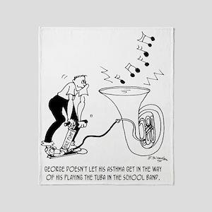Asthmatic Playing Tuba Throw Blanket