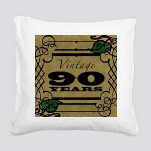 Vintage 90th Birthday (Gold) Square Canvas Pillow