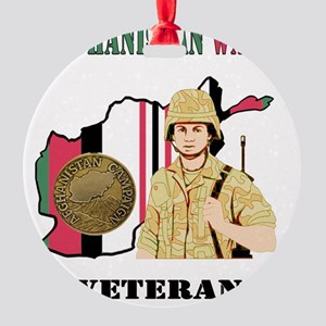 Afghanistan War Veteran Round Ornament