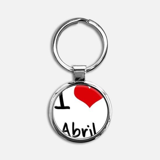 I Love Abril Round Keychain