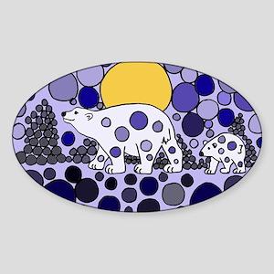 Polar Bear Abstract Art Sticker (Oval)