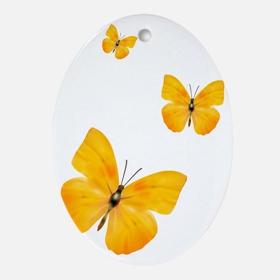 Apricot Sulphur Butterflies 3 Oval Ornament