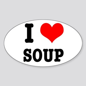 I Heart (Love) Soup Oval Sticker