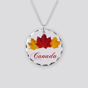 Canadian Maple Leaves Necklace Circle Charm