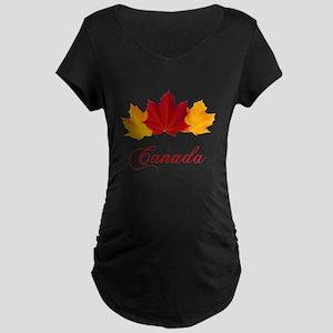 Canadian Maple Leaves Maternity Dark T-Shirt