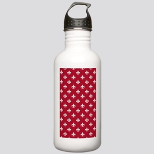 Fleur de Lis 3x5 White Stainless Water Bottle 1.0L