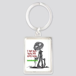 I Saw Dead People With Haunted H Portrait Keychain