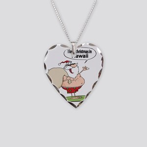Surfing Santa Necklace Heart Charm