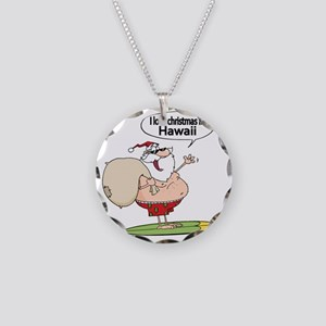 Surfing Santa Necklace Circle Charm