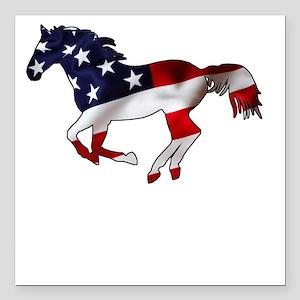 "American Horse Square Car Magnet 3"" x 3"""