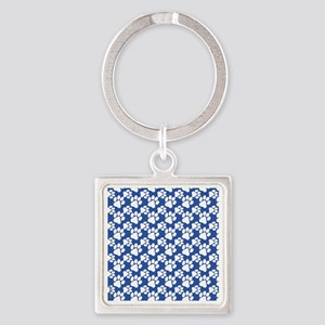 Dog Paws Royal Blue-Small Square Keychain