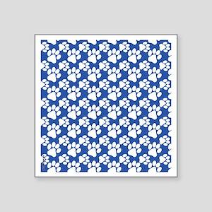 "Dog Paws Royal Blue-Small Square Sticker 3"" x 3"""