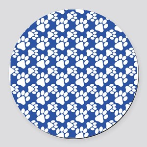 Dog Paws Royal Blue-Small Round Car Magnet