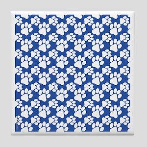 Dog Paws Royal Blue-Small Tile Coaster