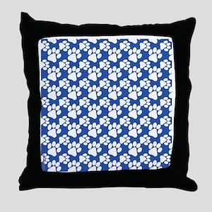 Dog Paws Royal Blue-Small Throw Pillow