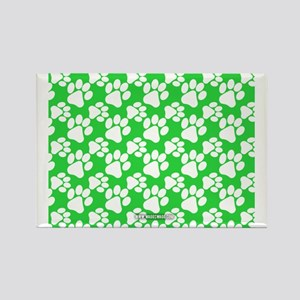 Dog Paws Green Rectangle Magnet