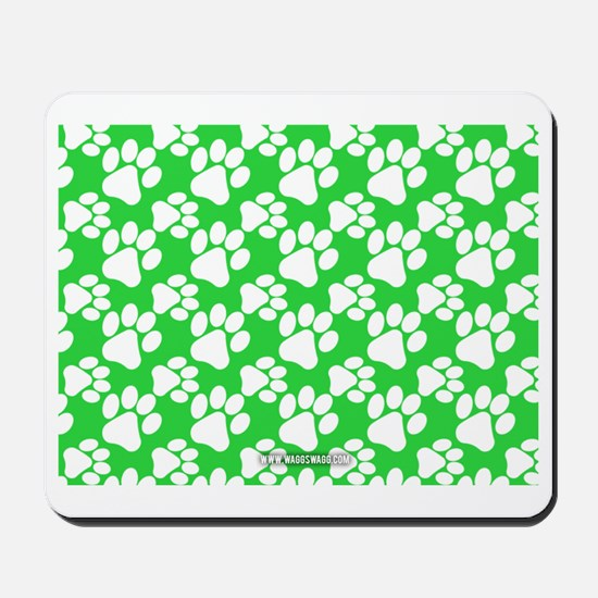 Dog Paws Green Mousepad