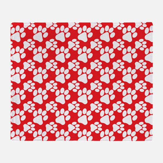 Dog Paws Red-Small Throw Blanket