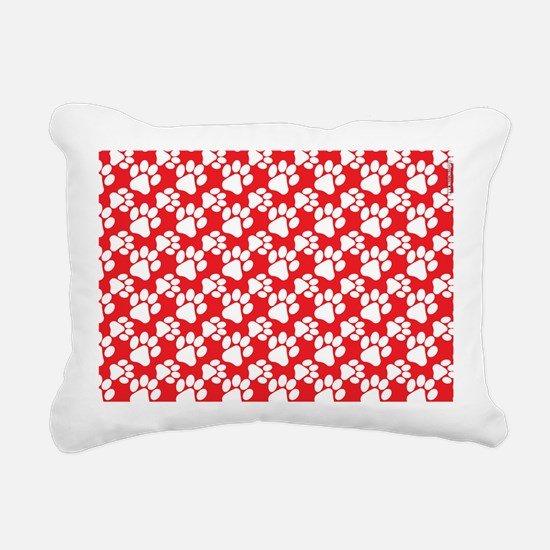 Dog Paws Red-Small Rectangular Canvas Pillow