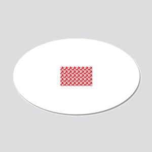 Dog Paws Red-Small 20x12 Oval Wall Decal