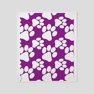 Dog Paws Purple Throw Blanket