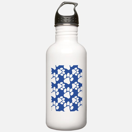 Dog Paws Royal Blue Water Bottle