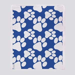 Dog Paws Royal Blue Throw Blanket