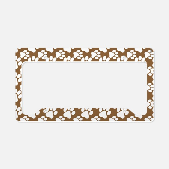 Dog Paws Brown-Small License Plate Holder