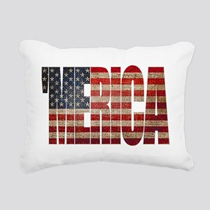 Vintage MERICA U.S. Flag Rectangular Canvas Pillow