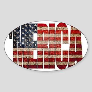 Vintage MERICA U.S. Flag Sticker (Oval)