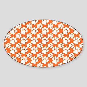 Dog Paws Clemson Orange-Small Sticker (Oval)