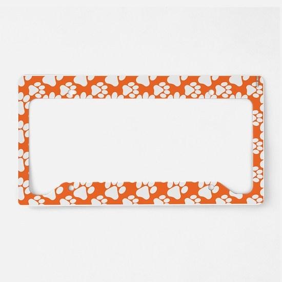 Dog Paws Clemson Orange-Small License Plate Holder