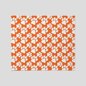 Dog Paws Clemson Orange-Small Throw Blanket