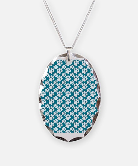 Dog Paws Teal-Small Necklace