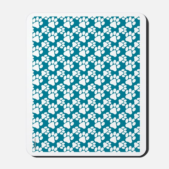 Dog Paws Teal-Small Mousepad