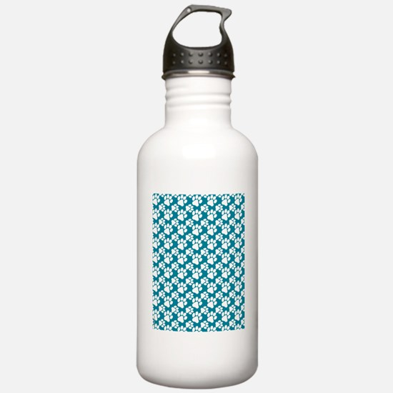 Dog Paws Teal-Small Water Bottle
