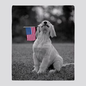 4th of July Patriotic Puppy Throw Blanket