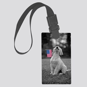4th of July Patriotic Puppy Large Luggage Tag