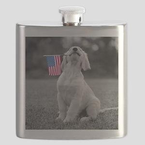 Patriotic Golden Puppy Flask