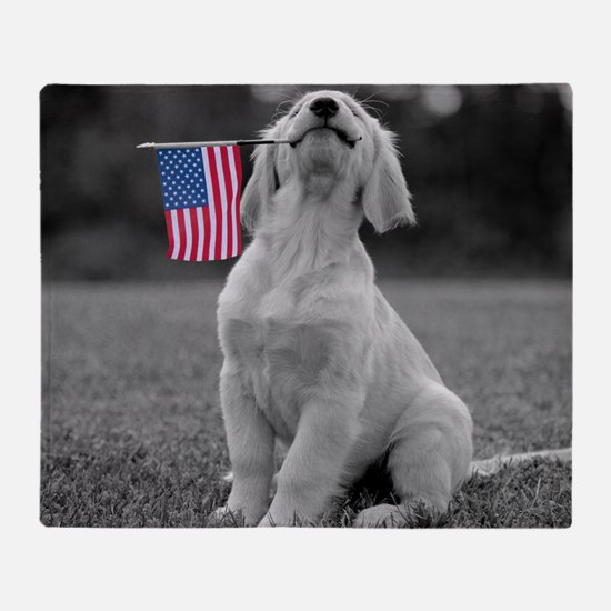 Patriotic Golden Puppy Throw Blanket