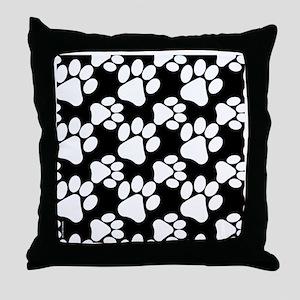 Dog Paws Black Throw Pillow