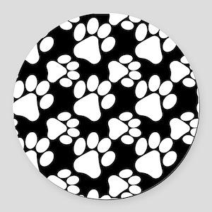 Dog Paws Black Round Car Magnet