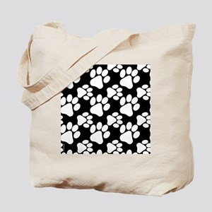 Dog Paws Black Tote Bag