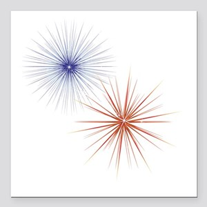 """Blue and Red Fireworks Square Car Magnet 3"""" x 3"""""""
